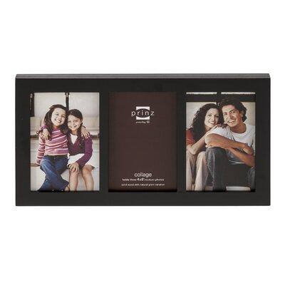 3 Opening Carolina Solid Wood Picture Frame Color: Black