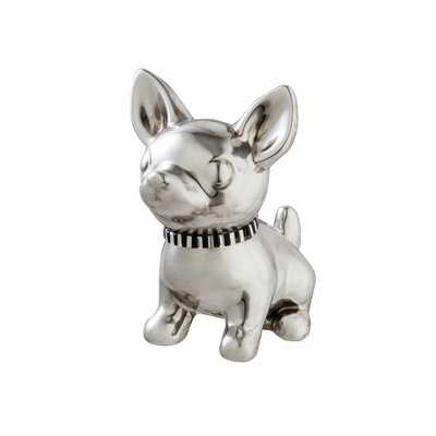 Ceramic Chihuahua with Jewel Collar Statue Color: Silver 6509-6956