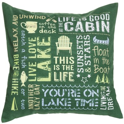 Lodge Words Cotton Throw Pillow