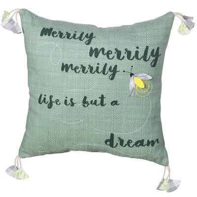 Merrily Merrily Sentiment Cotton Throw Pillow