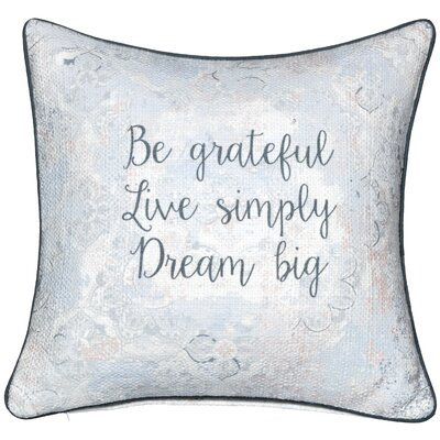 Be Grateful Sentiment Cotton Throw Pillow