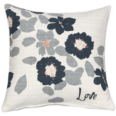 Love Muted Floral Sentiment Cotton Throw Pillow