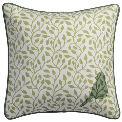 Bird and Vines Cotton Throw Pillow