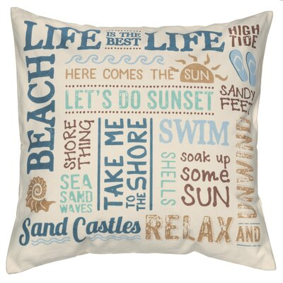 Water`s Edge Beach Life Cotton Throw Pillow