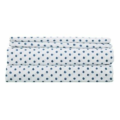 Thread Experiment Printed Dots Luxurious, Long-staple 100% Cotton Percale Sheet Set - Size: King, Color: Blue