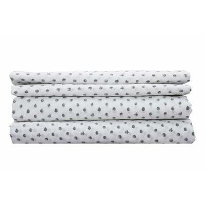 Printed Dots Cotton Sheet Set Color: Charcoal, Size: Queen