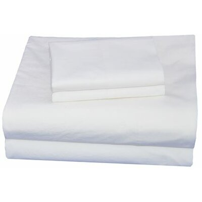 Thread Experiment Washed Solid Luxurious, Long-staple 100% Cotton Percale Sheet Set - Color: White, Size: Queen