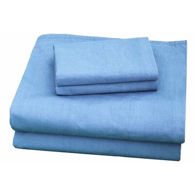 Thread Experiment Washed Solid Luxurious, Long-staple 100% Cotton Percale Sheet Set - Size: King, Color: Blue