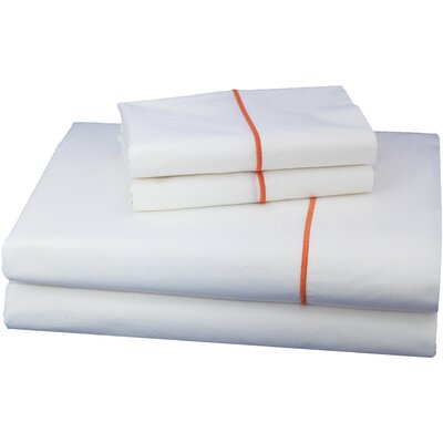 Embroidered Luxurious, Long-staple 100% Cotton Percale Sheet Set Size: Twin XL, Color: Orange