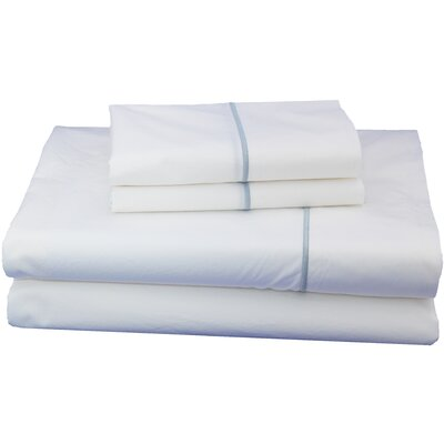 Embroidered Luxurious, Long-staple 100% Cotton Percale Sheet Set Size: Queen, Color: Light Blue