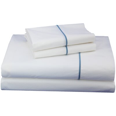 Thread Experiment Embroidered Luxurious, Long-staple 100% Cotton Percale Sheet Set - Size: Twin, Color: Blue