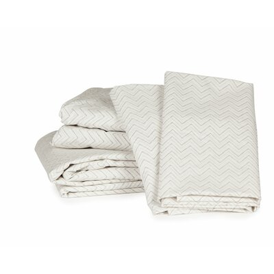 Chevron 300 Thread Count Cotton Sheet Set Size: Full, Color: Greige
