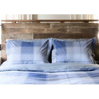 100% Cotton Reversible Duvet Set Size: Full/Queen, Color: Pale Blue/Charcoal Madras