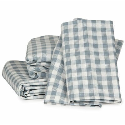 Gingham Plaid 300 Thread Count Cotton Sheet Set Color: Charcoal Gray, Size: Queen