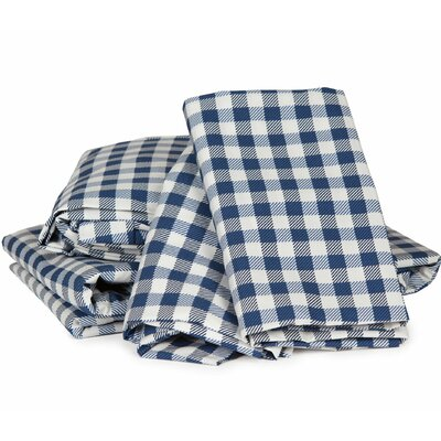 Gingham Plaid 300 Thread Count Cotton Sheet Set Size: Cal King, Color: Navy