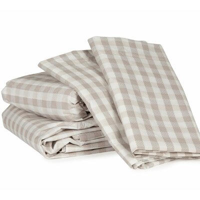 Gingham Plaid 300 Thread Count Cotton Sheet Set Size: Cal King, Color: Grayish Beige