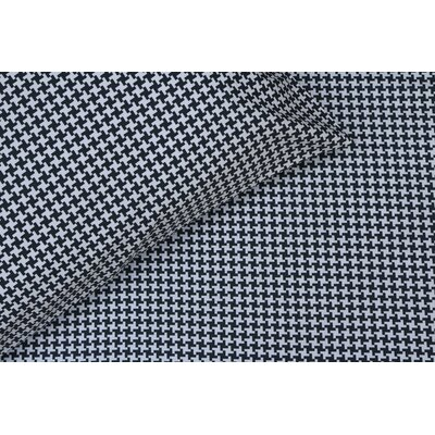 Houndstooth 300 Thread Count Cotton Sateen Sheet Set Size: Queen, Color: Black/White