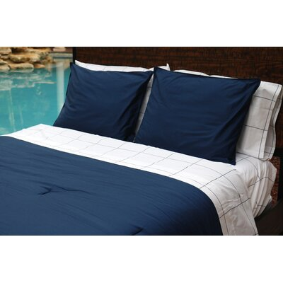 100% Sateen Cotton Reversible Duvet Set Size: Full/Queen, Color: Navy