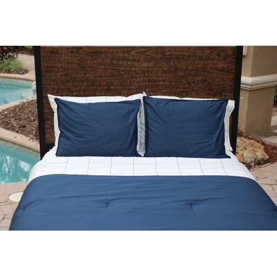 100% Sateen Cotton Reversible Comforter Set Size: Full/Queen, Color: Navy
