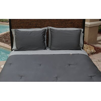 100% Sateen Cotton Reversible Duvet Set Size: Full/Queen, Color: Slate