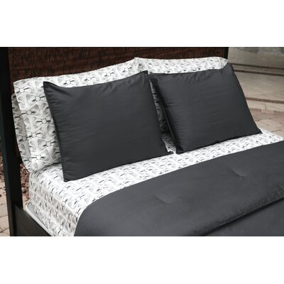 100% Sateen Cotton Reversible Comforter Set Size: Twin/Twin XL, Color: Slate
