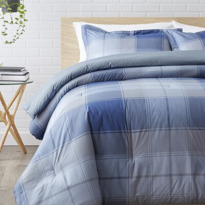 100% Cotton Reversible Comforter Set Size: Twin / Twin XL, Color: Blue / Charcoal Gray