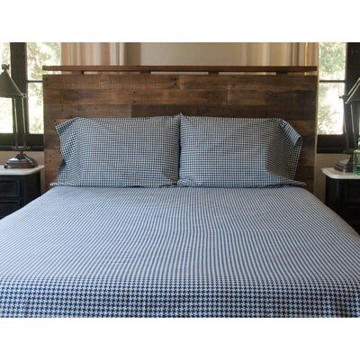 Houndstooth 300 Thread Count Cotton Sateen Sheet Set Size: King, Color: Navy/White