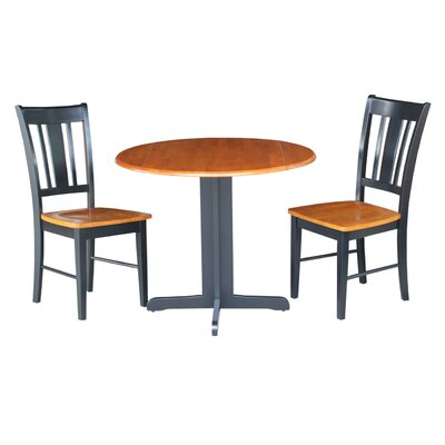 3 Piece Dining Set Finish: Black / Cherry