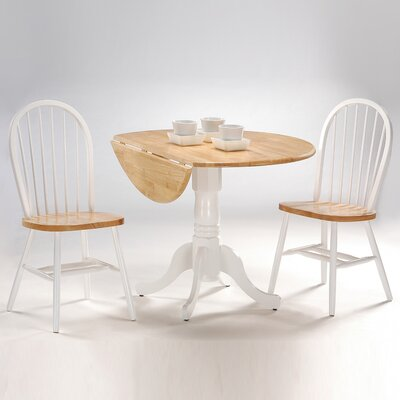 Image of International Concepts International Concepts 3 Piece Dual Drop Leaf Table & Windsor Chair Set (White/Natural) (WI1436)