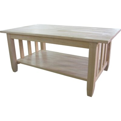 Unfinished Wood Mission Coffee Table