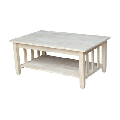 Unfinished Wood Mission Coffee Table with Lift Top