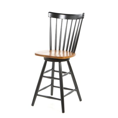Madison Park 24 Swivel Bar Stool Finish: Black / Cherry