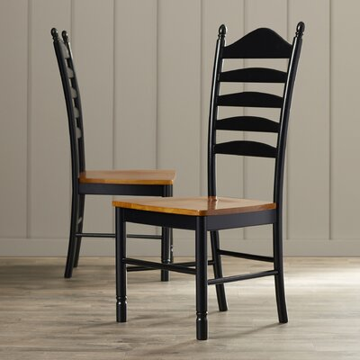 Madison Park Ladderback Solid Wood Dining Chair Finish: Black / Cherry
