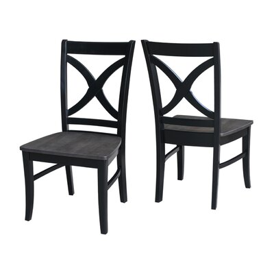 Beuvron Solid Wood Dining Chair Color: Coal Black/Washed Black