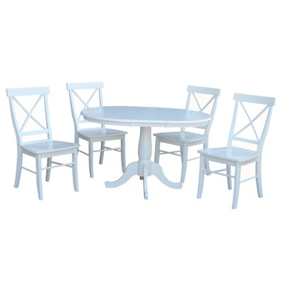 Petra Extendable Pedestal 5 Piece Dining Set