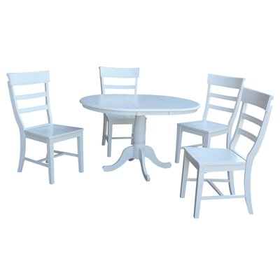 Petra Traditional Extendable Pedestal 5 Piece Dining Set