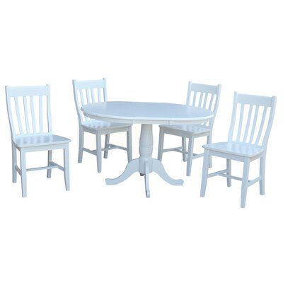 Petra Extendable Pedestal 5 Piece Wood Dining Set