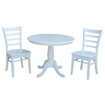 Petra Traditional Extendable Pedestal 3 Piece Bistro Set