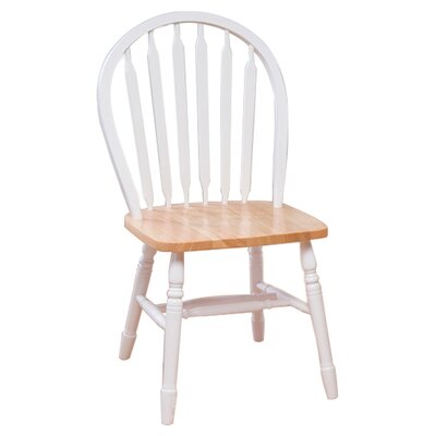 Charlotte Arrowback Side Chair Color: White/Natural