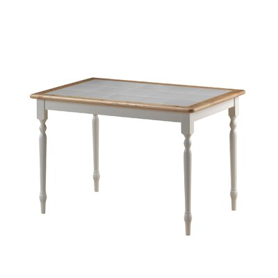 Bella Tile Top Dining Table Finish White Natural