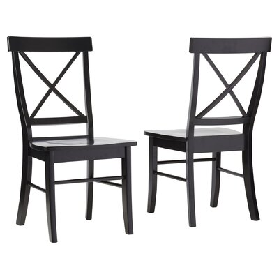 Sawyer Cross Back Solid Wood Dining Chair Finish: Black