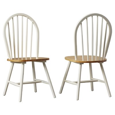 Bella Solid Wood Dining Chair Color: White / Natural