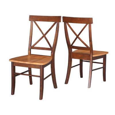 Sawyer Cross Back Solid Wood Dining Chair Finish: Cinnamon/Espresso