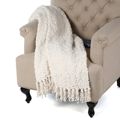 Madison Woven Throw Blanket Color: Cream