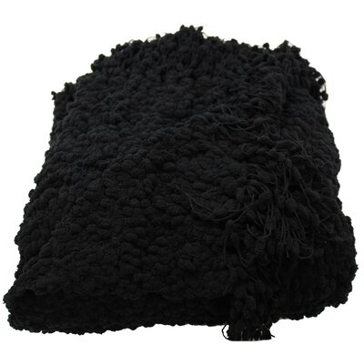 Madison Woven Throw Blanket Color: Black