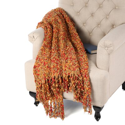 Madison Woven Throw Blanket Color: Caramel