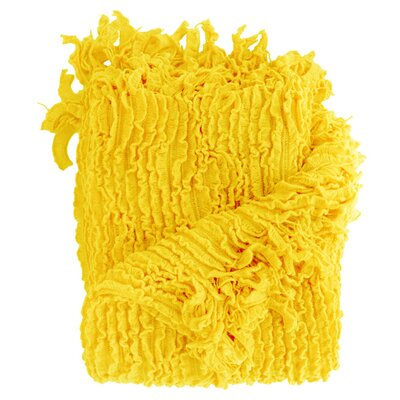 Melisande Ruffled Throw Blanket Color: Yellow