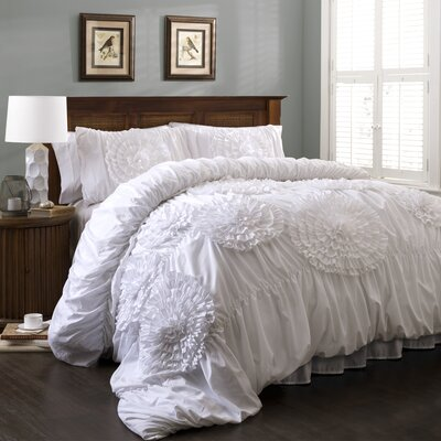 Elmira 3 Piece Comforter Set Color: White, Size: Queen