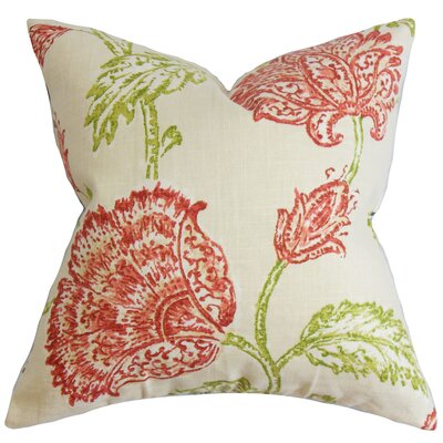 Filomena Floral Linen Throw Pillow Color: Natural Pink, Size: 22 x 22