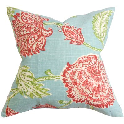 Filomena Linen Throw Pillow Color: Aqua, Size: 18 H x 18 W